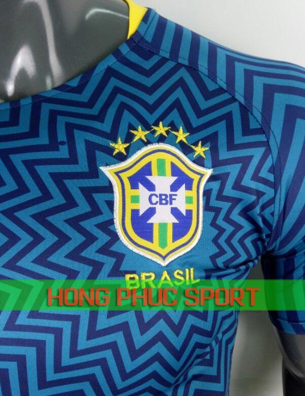 Logo áo training tuyển Brazil World Cup 2018 màu xanh