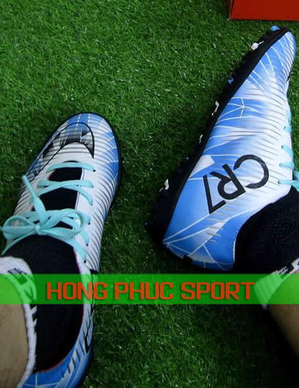 Giày đá bóng CR7 Mercurial cổ cao màu xanh biển