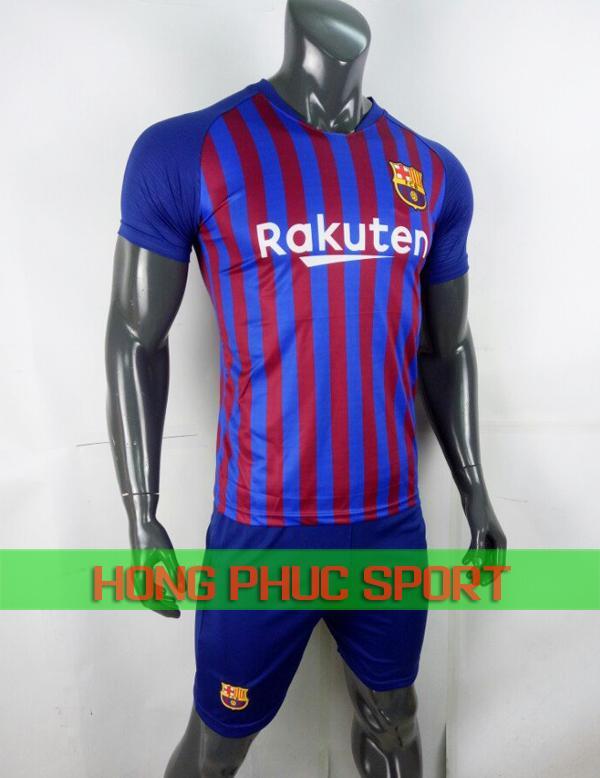 Bộ áo đấu Barca sân nhà 2018 2019 xanh sọc đỏ