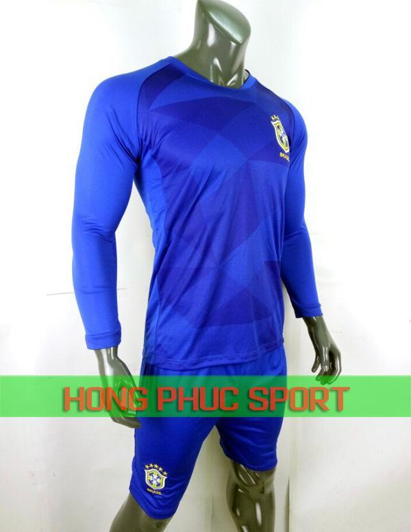 Bộ áo đấu Brazil sân khách tay dài World Cup 2018 màu xanh