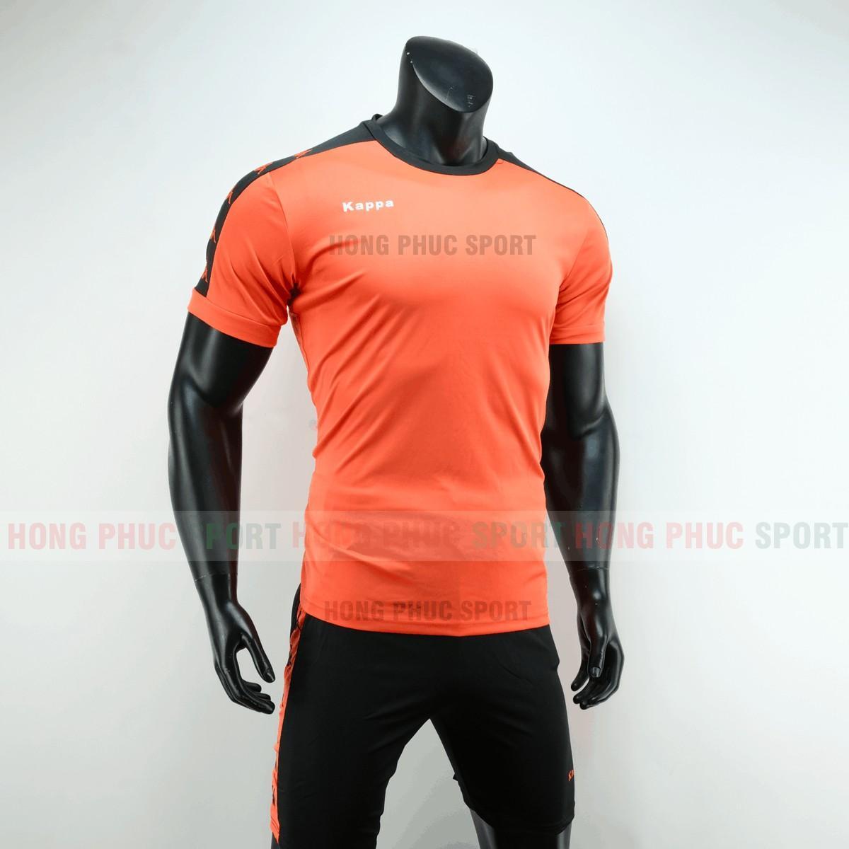 Áo đá bóng Kappa màu cam không logo 2019 2020