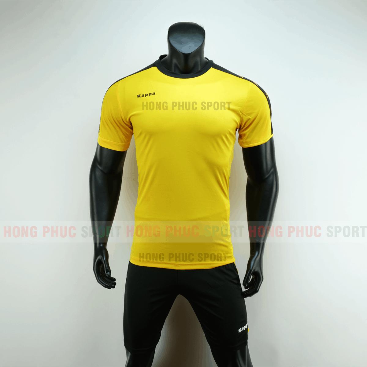 Áo đá bóng Kappa màu vàng không logo 2019 2020