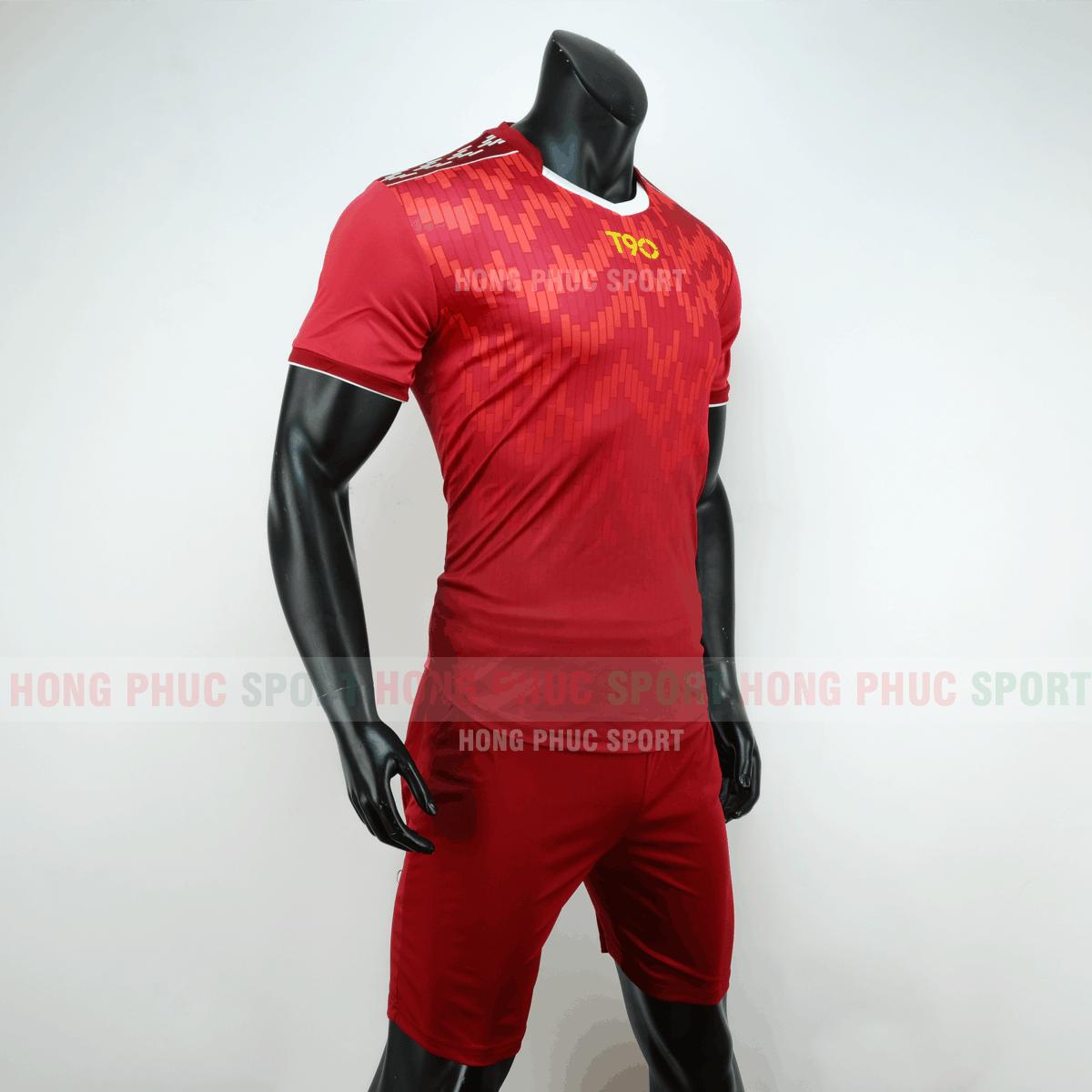 Áo bóng đá T90 màu đỏ không logo 2019 2020