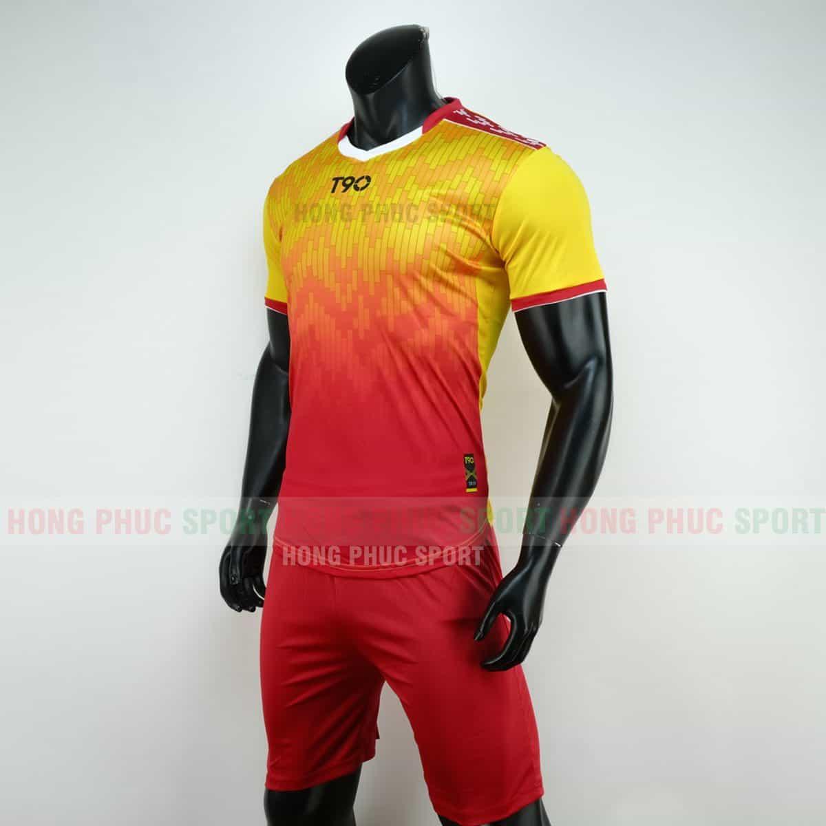 Áo bóng đá T90 màu đỏ vàng không logo 2019 2020