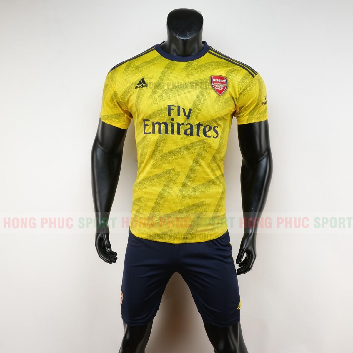 Bộ quần áo đá bóng Arsenal sân khách 2019 2020 màu vàng hàng thái