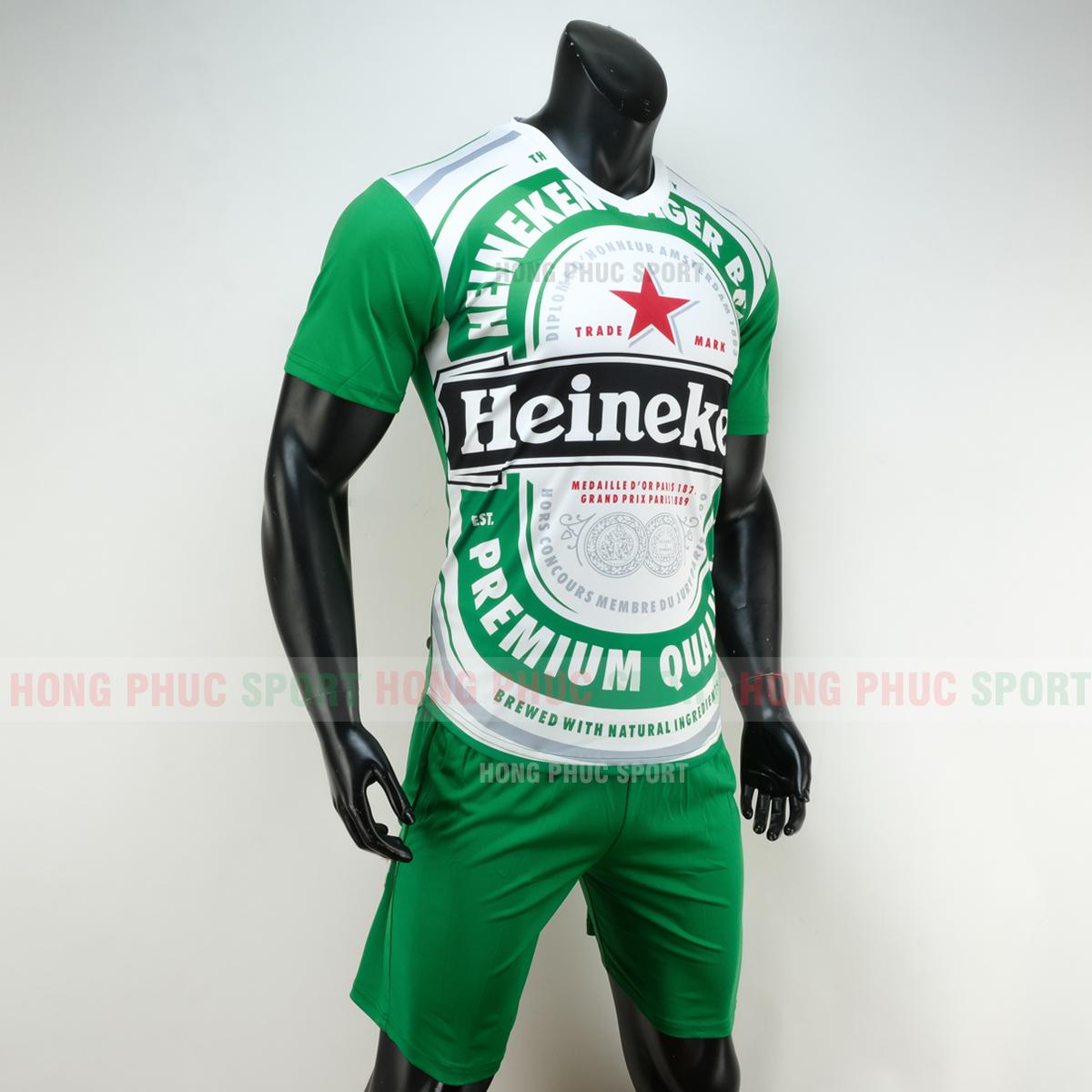 Áo bóng đá thương hiệu bia Heineken 2019 2020 màu xanh