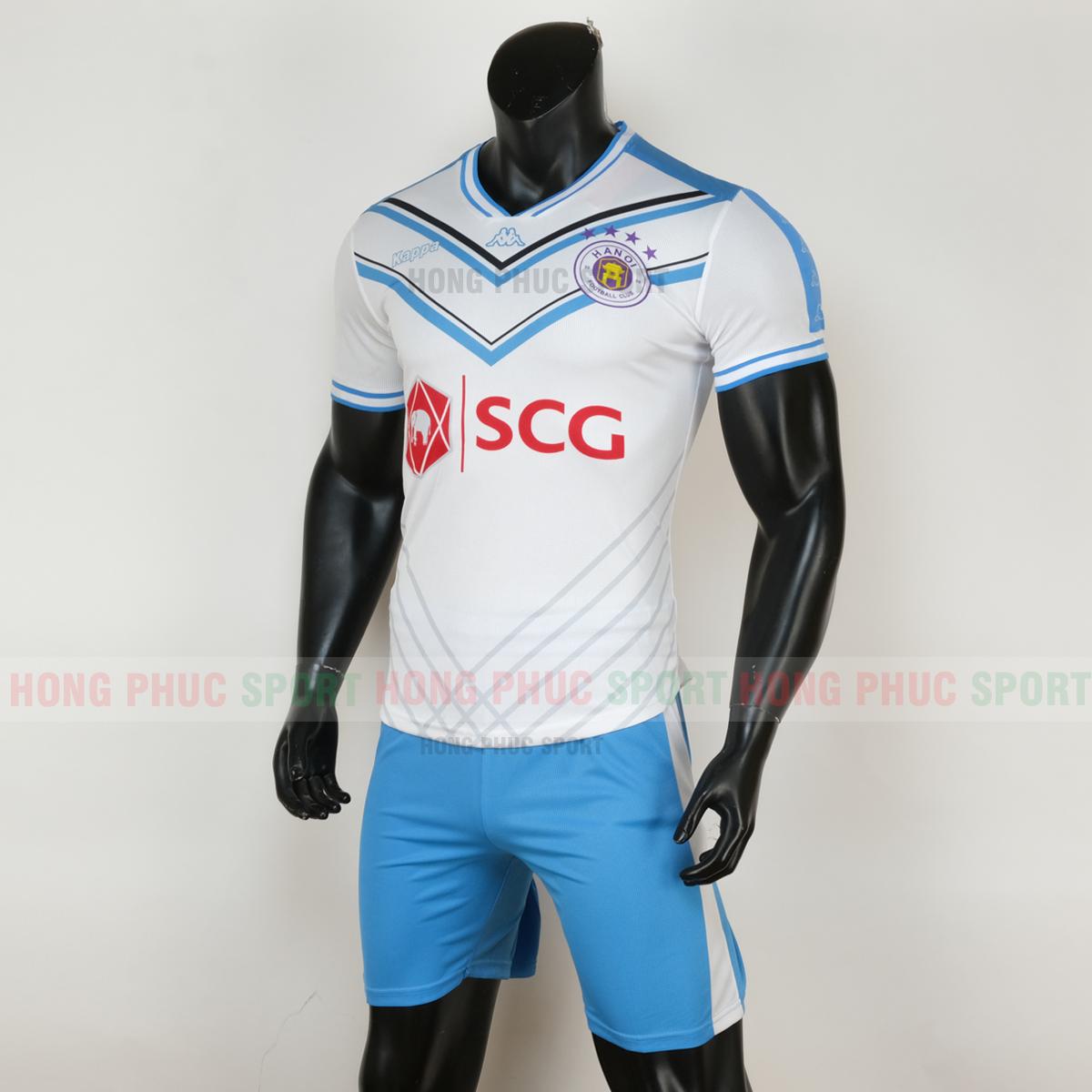 Áo đấu Hà Nội sân khách 2020 2021 màu trắng sọc xanh