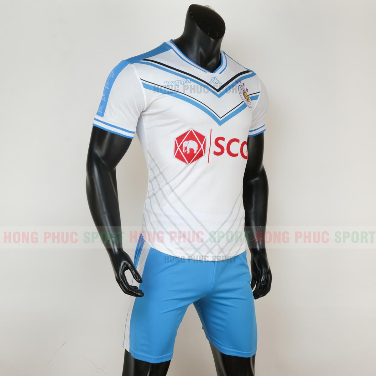 Áo đá bóng Hà Nội sân khách 2020 2021 màu trắng sọc xanh