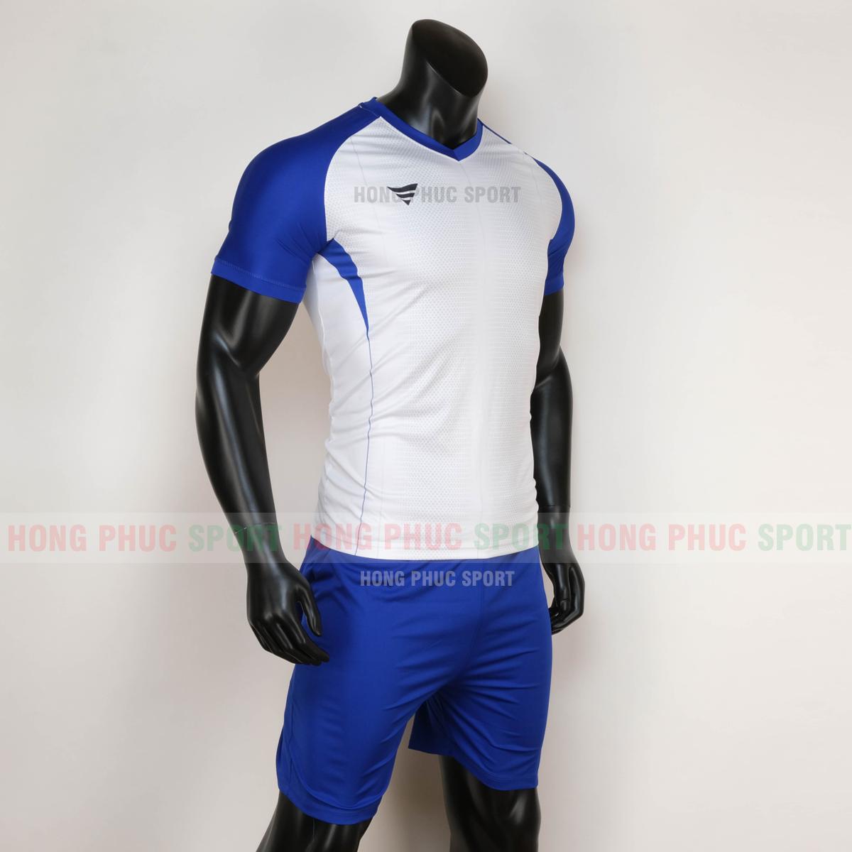 Áo đá bóng không logo WINROAD 2020 xanh trắng