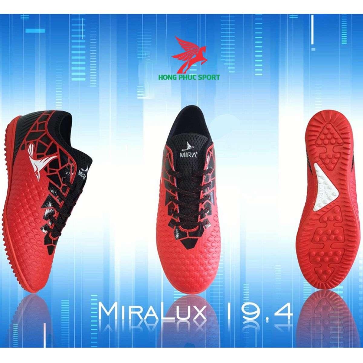 Giày đá bóng cổ cao Mira Lux 19.4 đỏ sân cỏ nhân tạo