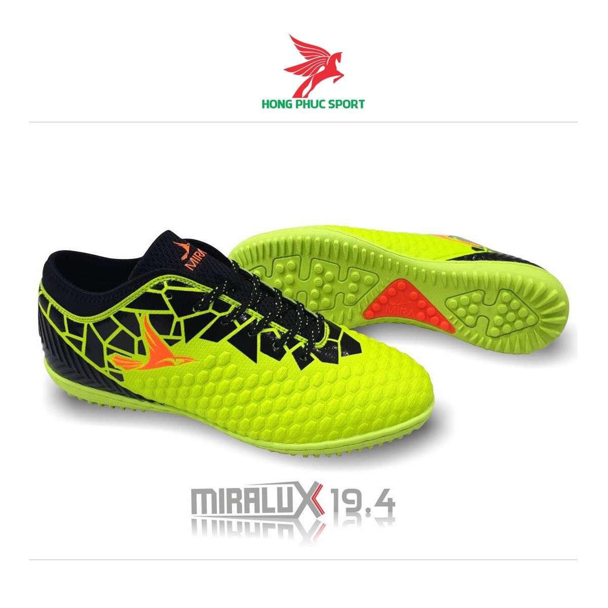 Giày đá banh cổ cao Mira Lux 19.4 xanh chuối sân cỏ nhân tạo