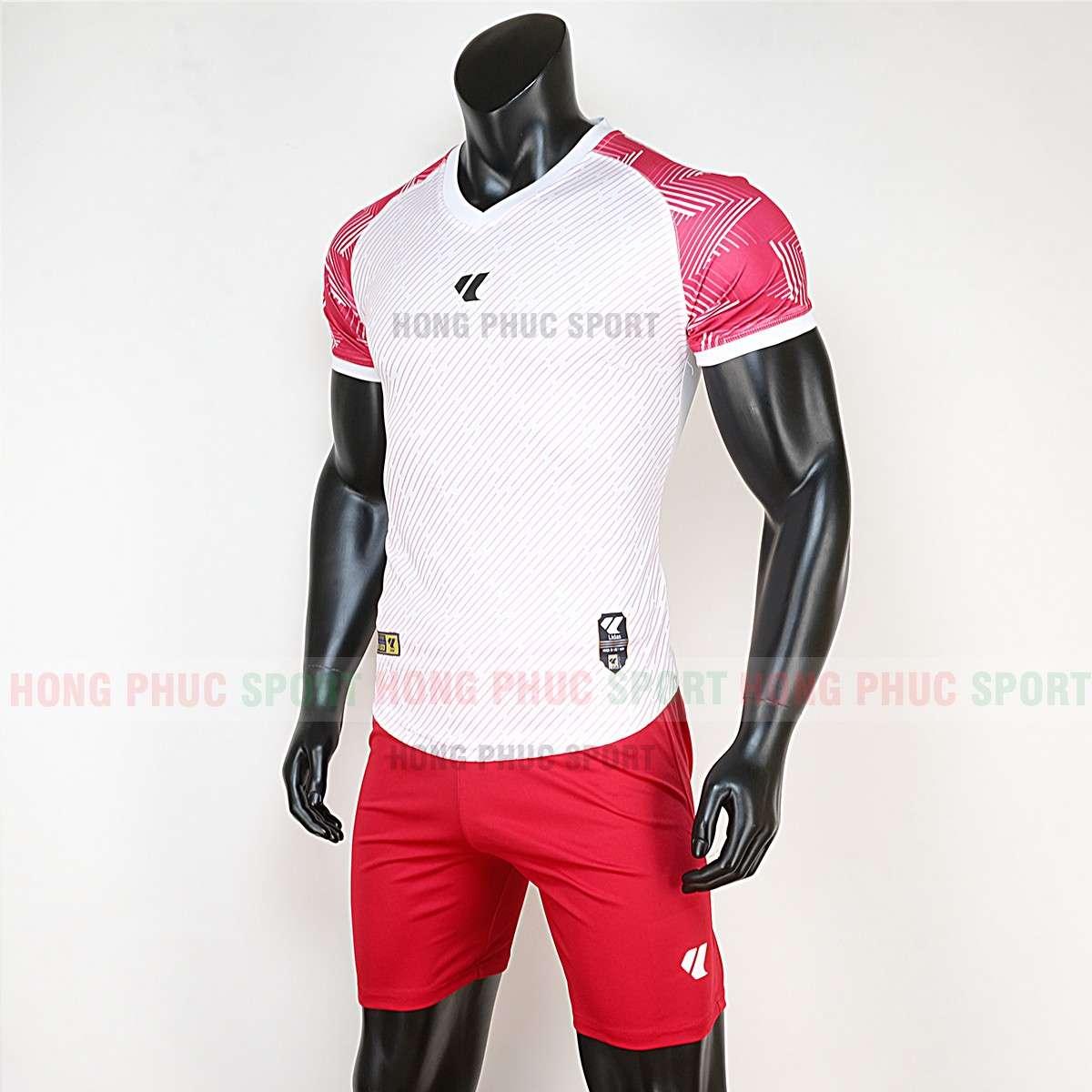 Mẫu áo đá bóng không logo Lidas Wariors 2020 màu trắng đỏ tự thiết kế