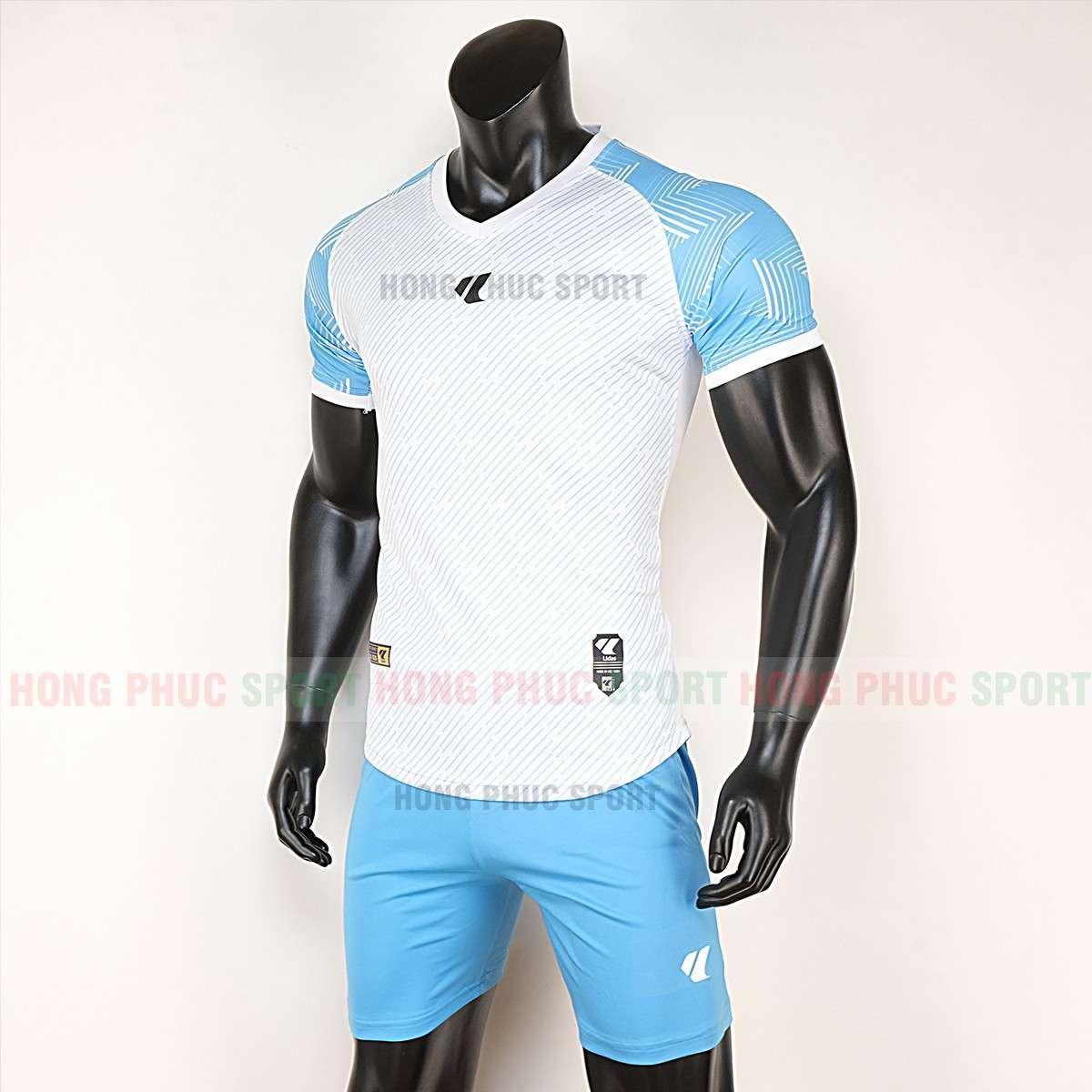 Mẫu áo đá bóng không logo Lidas Wariors 2020 trắng xanh bích tự thiết kế