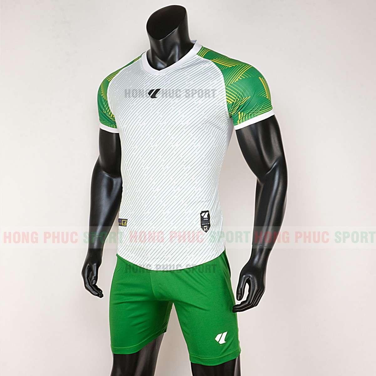 Mẫu áo đấu không logo Lidas Wariors 2020 trắng xanh lá tự thiết kế
