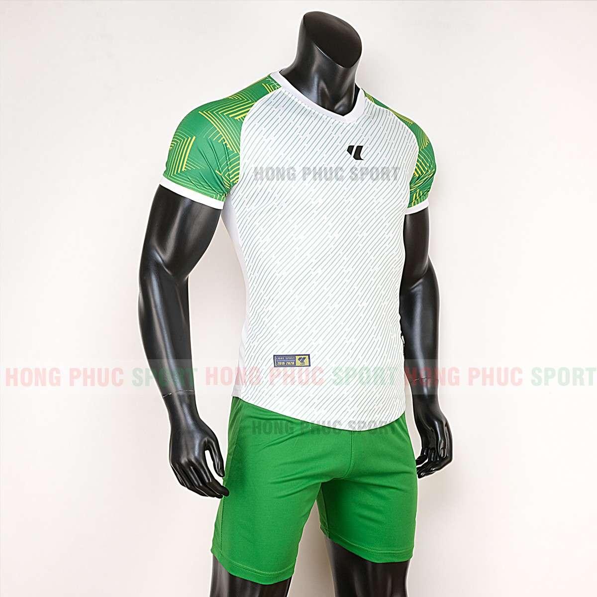 Mẫu áo đá bóng không logo Lidas Wariors 2020 trắng xanh lá tự thiết kế