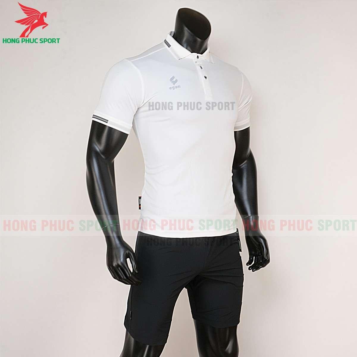 Quần áo di chuyển đá banh Polo UV Egan trắng