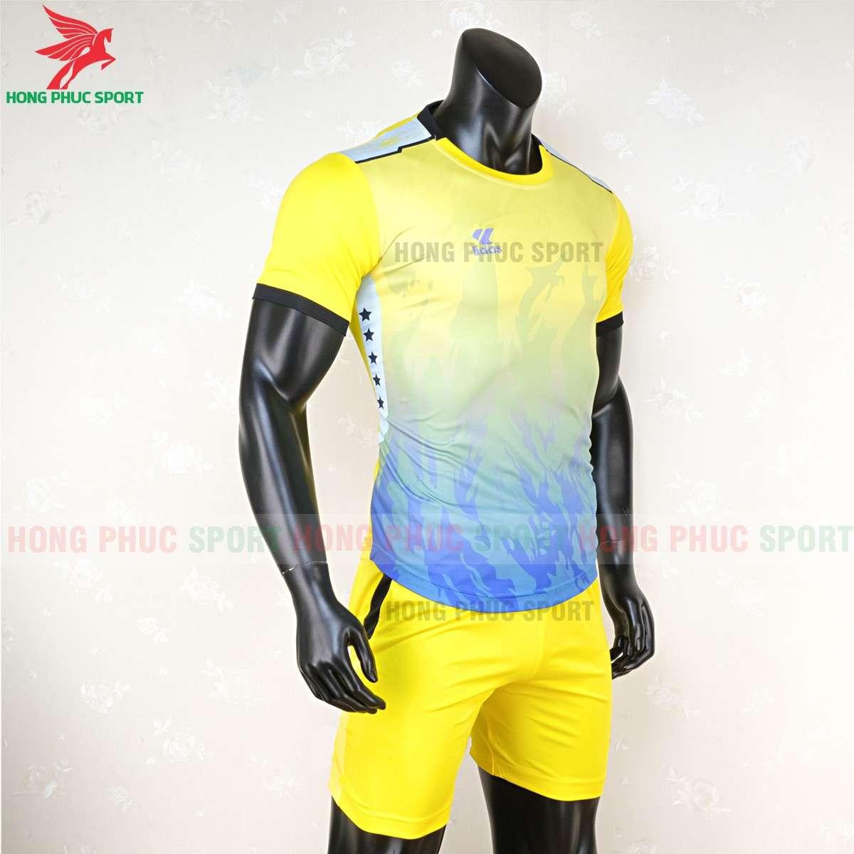Mẫu áo đá banh không logo Lidas 089 màu vàng xanh