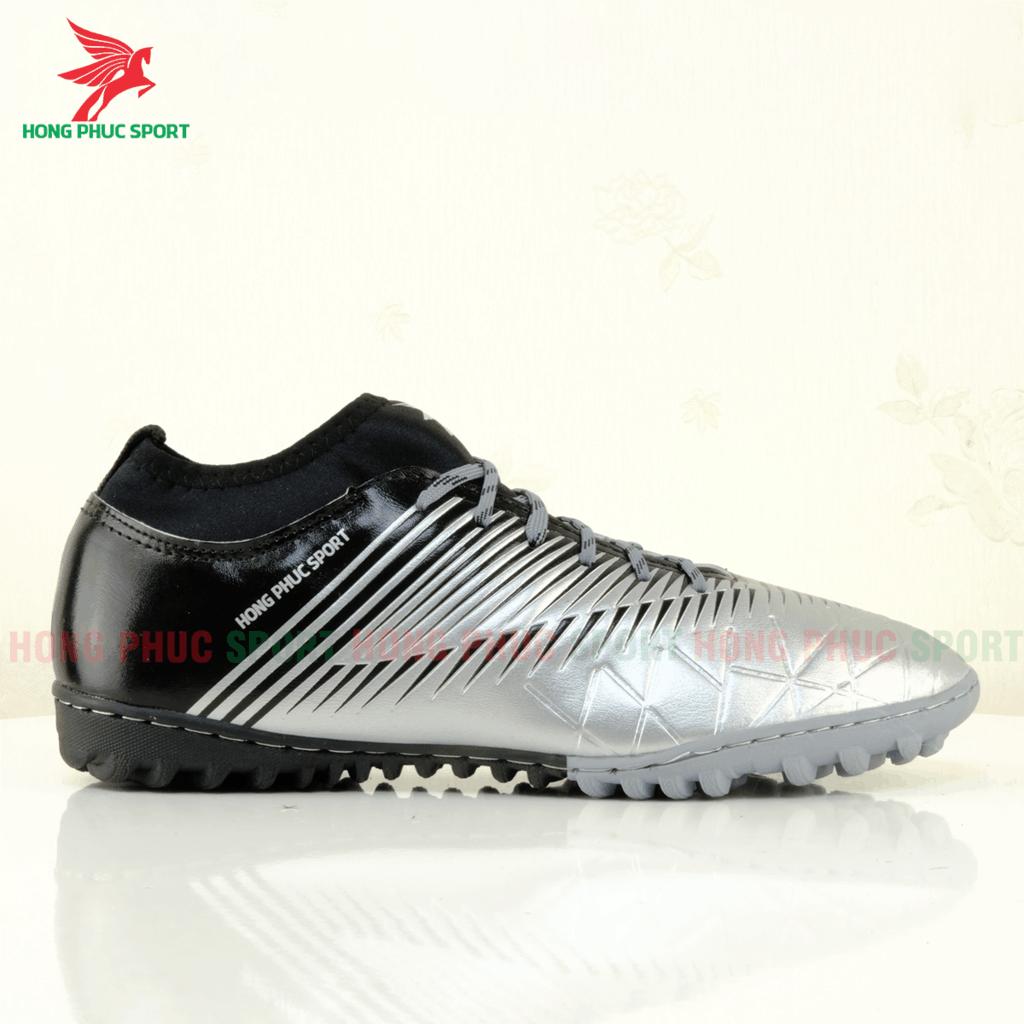Má ngoài giày đá bóng Hồng Phúc Sport 20.3 tf màu Xám bạc/đen