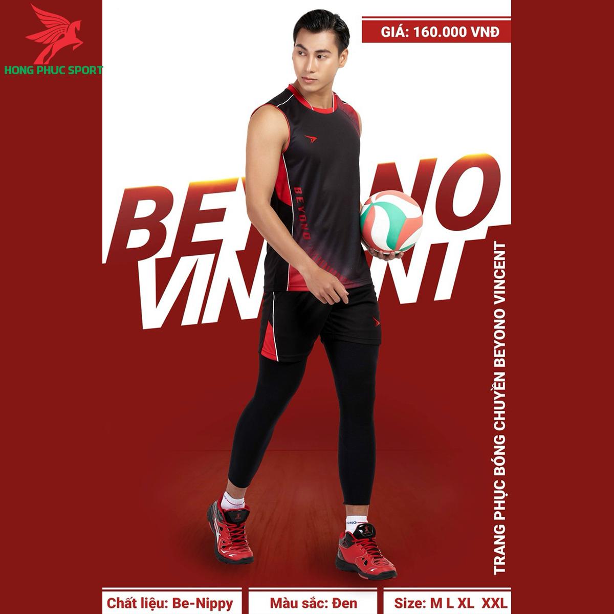 Quần áo bóng chuyền BEYONO Vincent màu đen (nam)