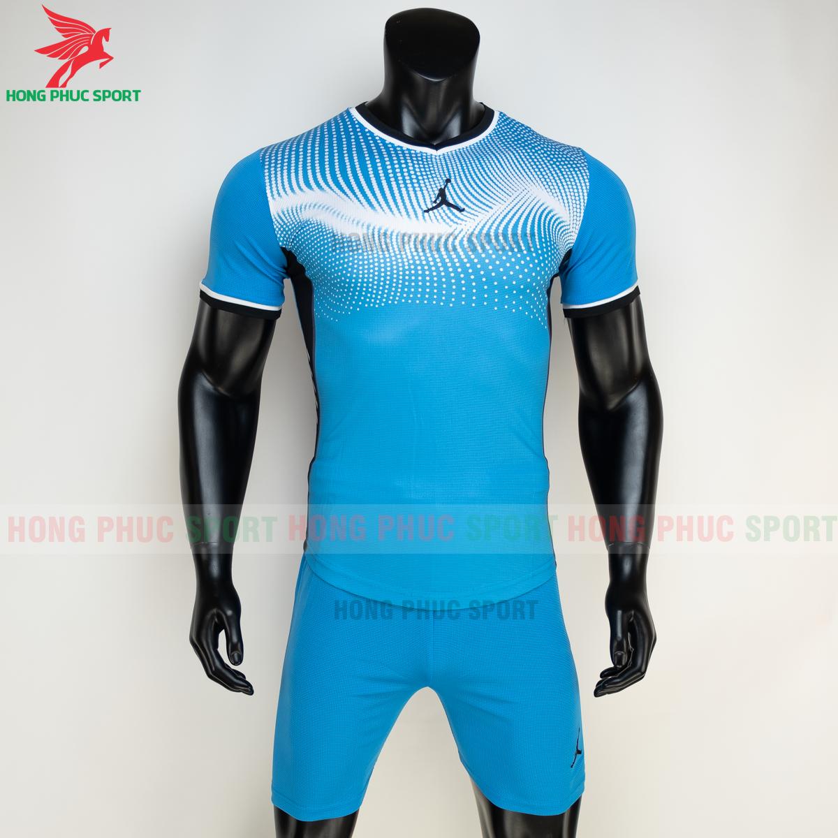 Áo đá banh không logo JORDAN WAVE 2021 màu Xanh da (trước)