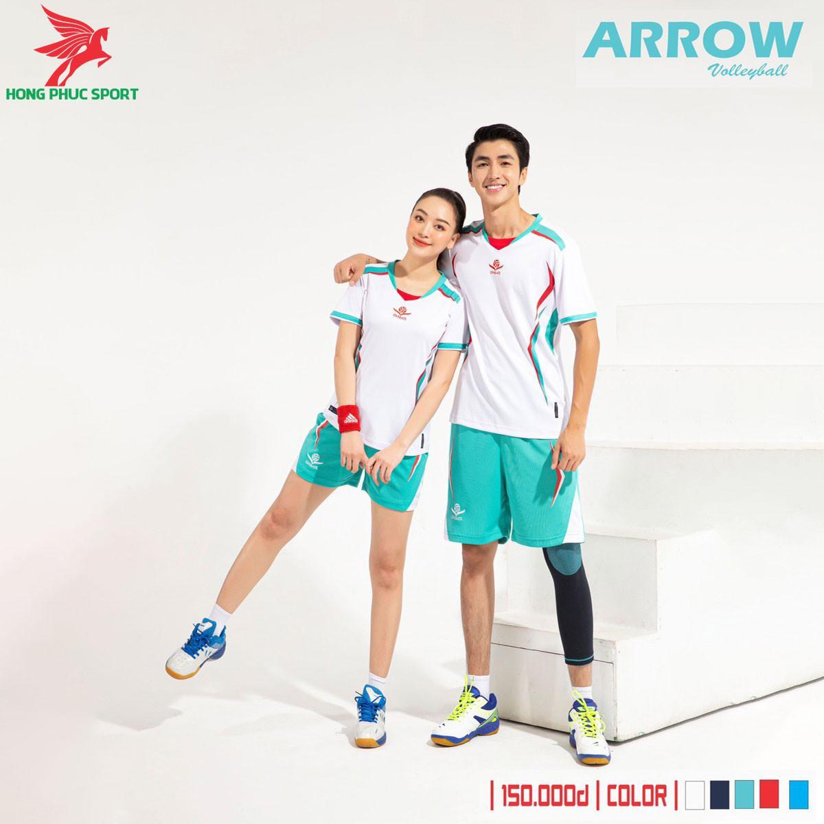 Áo thi đấu bóng chuyền Overate Arrow 2021 màu Trắng