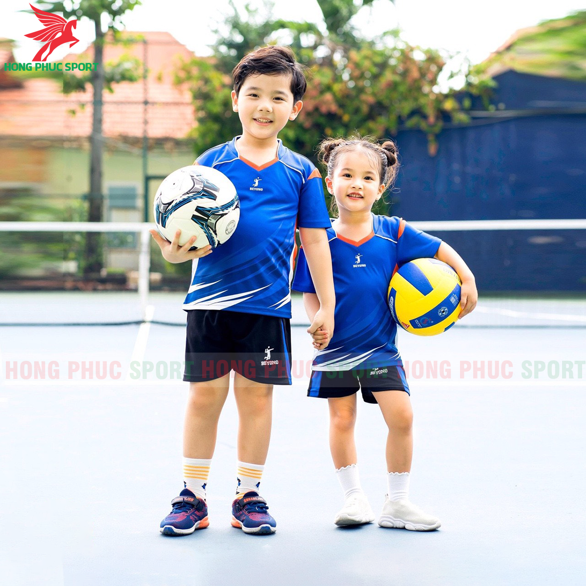 Áo bóng chuyền trẻ em Beyono 2020 Striving màu xanh