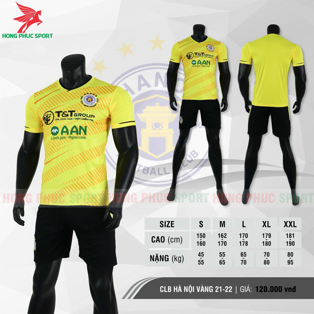 Áo đấu CLB Hà Nội 2021 màu vàng