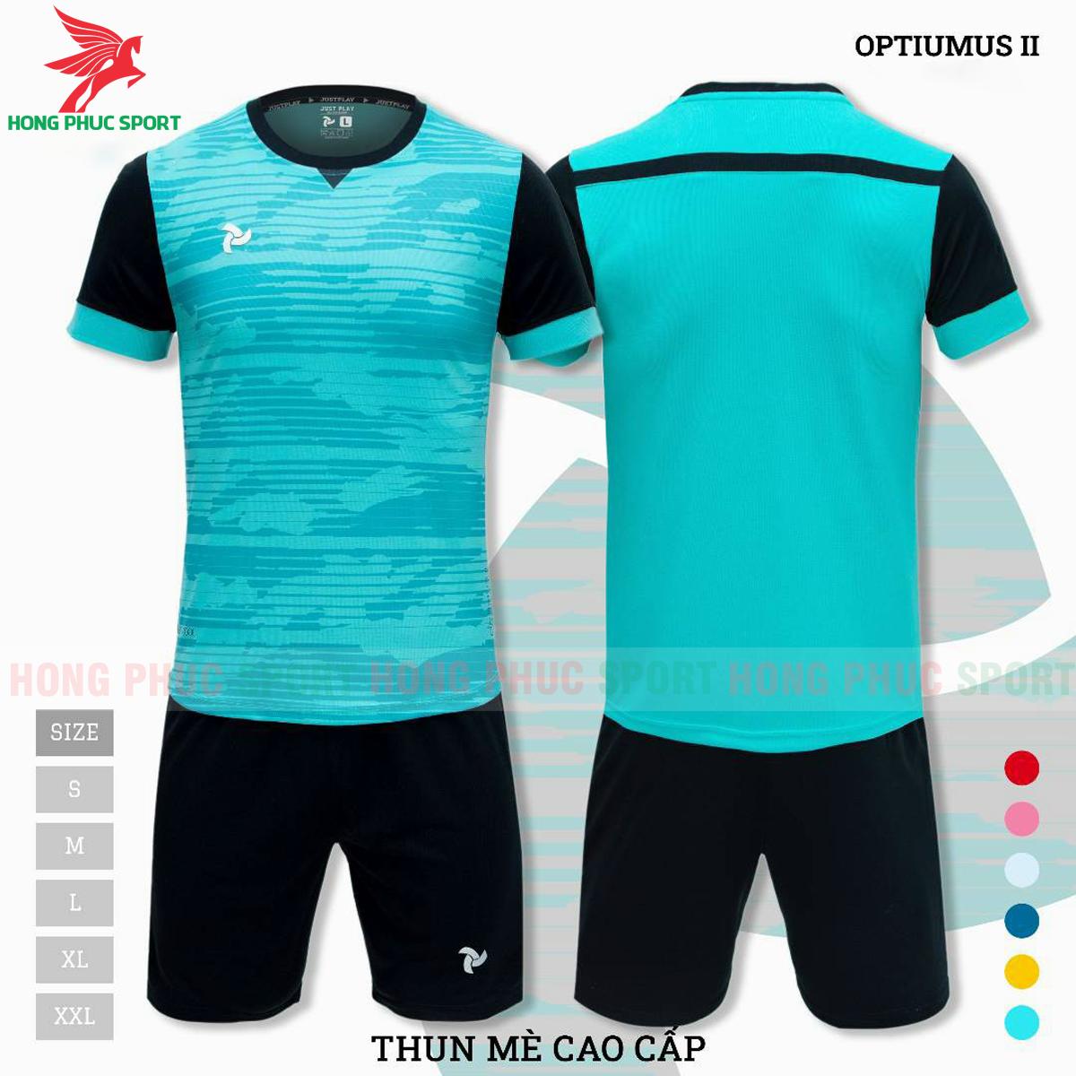 Áo đấu không logo Justplay Optiumus II 2021 màu xanh ngọc