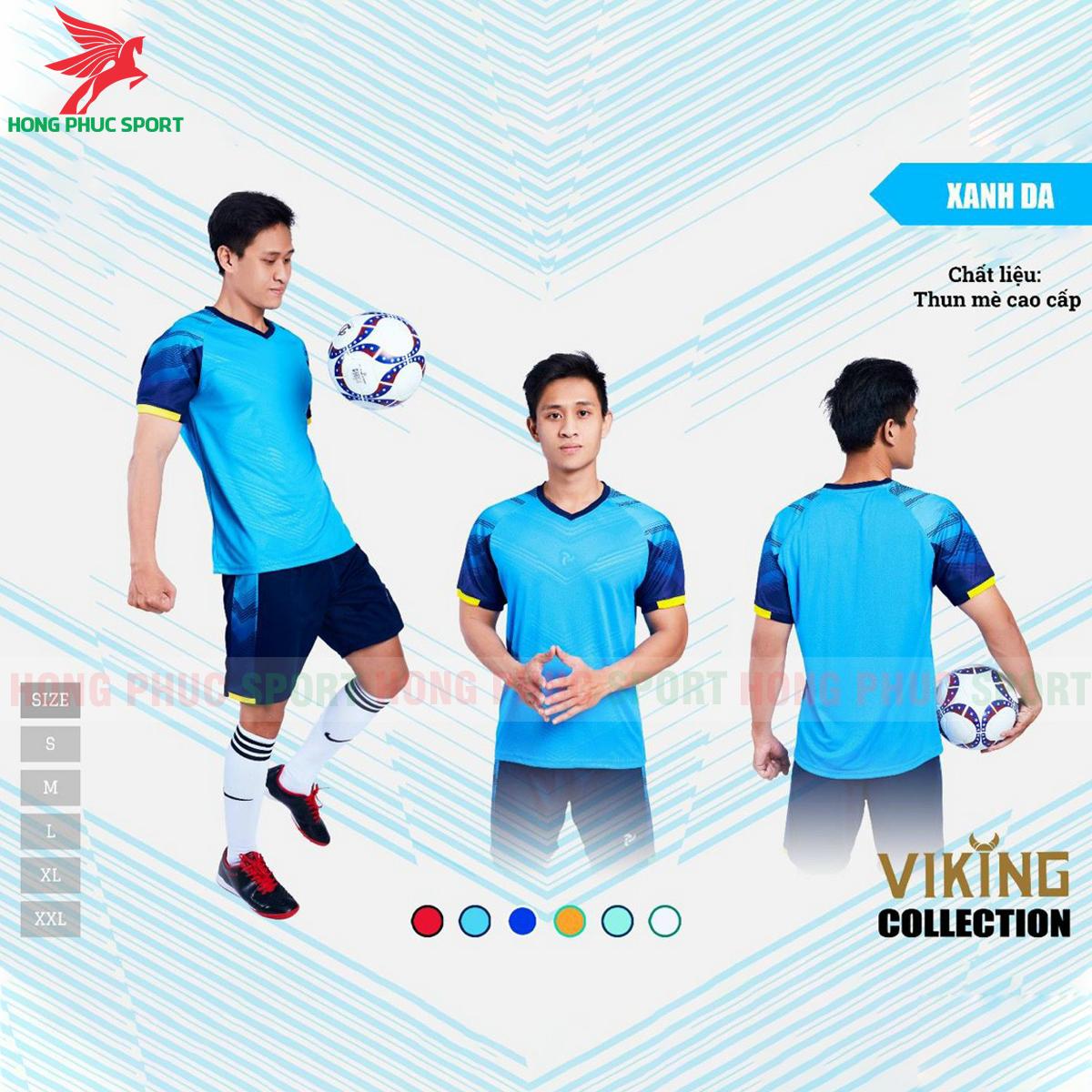Áo đấu không logo Justplay Viking 2021 màu xanh da