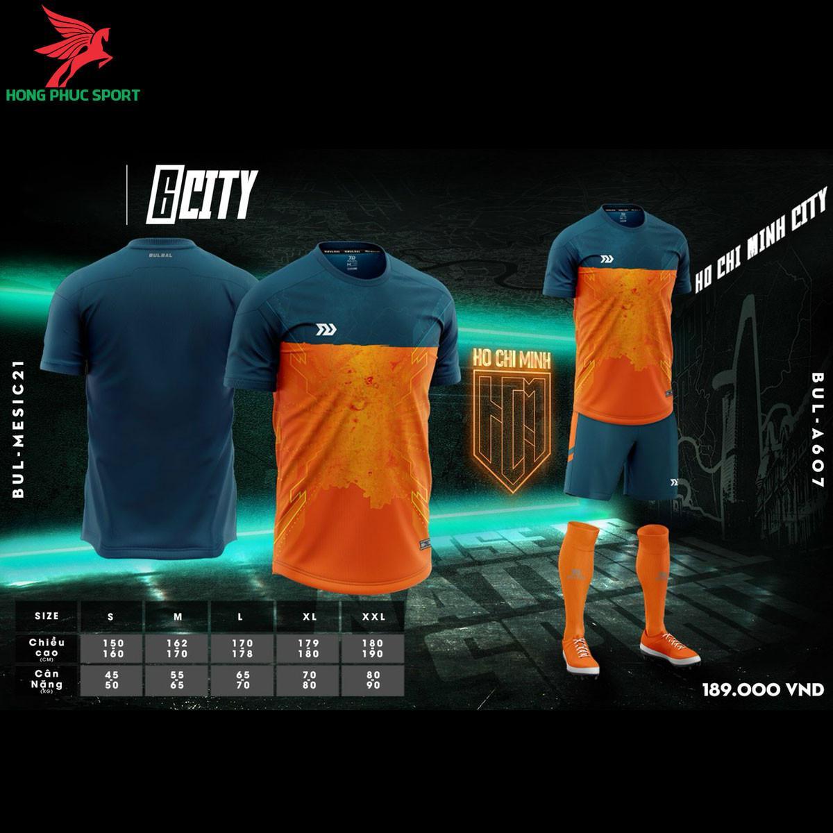 Áo đá banh không logo Bulbal 6City màu cam - Hồ Chí Minh