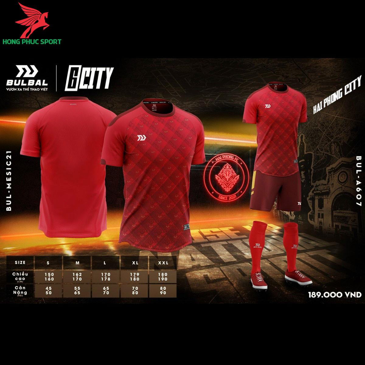 Áo đá banh không logo Bulbal 6City màu đỏ- Hải Phòng