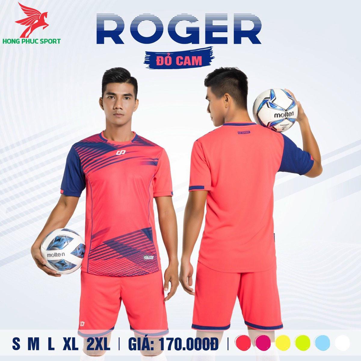 Áo đá banh không logo CP ROGER 2021 màu Đỏ cam