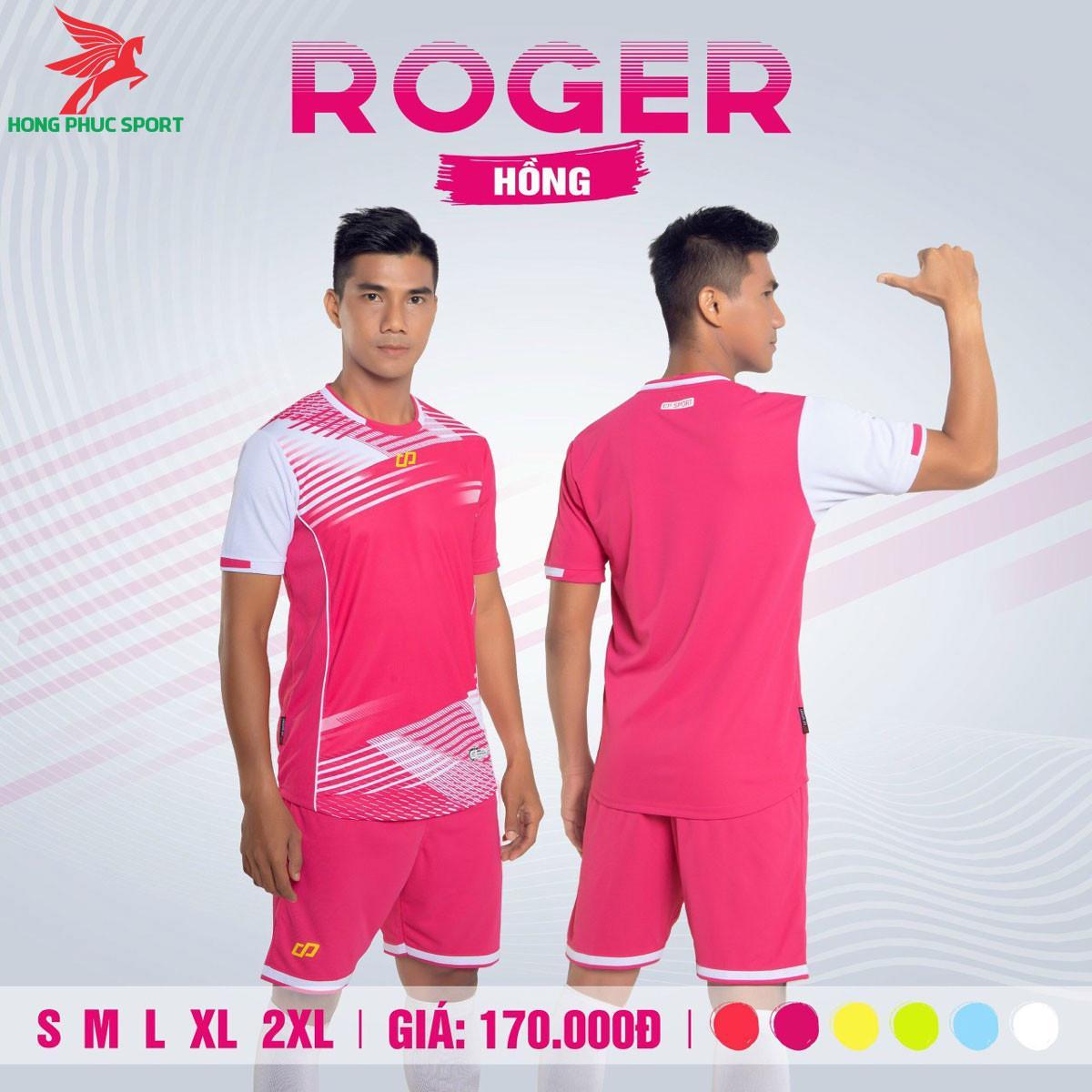 Áo đá banh không logo CP ROGER 2021 màu Hồng