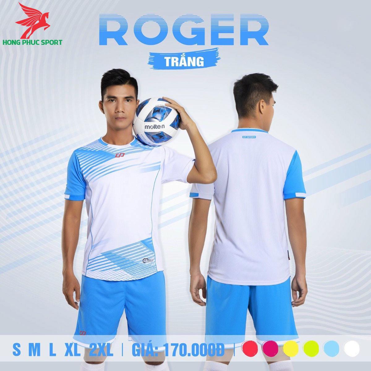 Áo đá banh không logo CP ROGER 2021 màu trắng