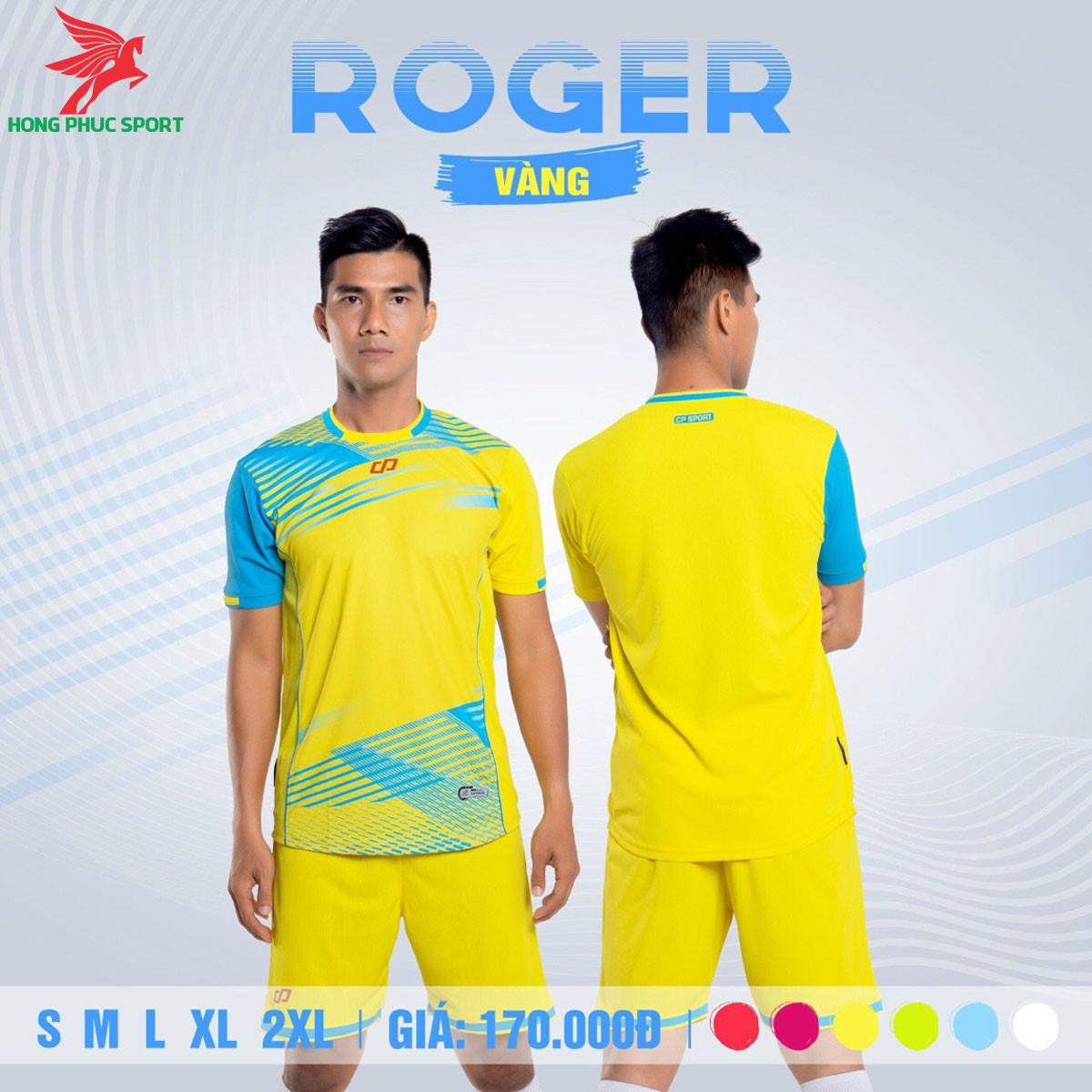 Áo đá banh không logo CP ROGER 2021 màu Vàng