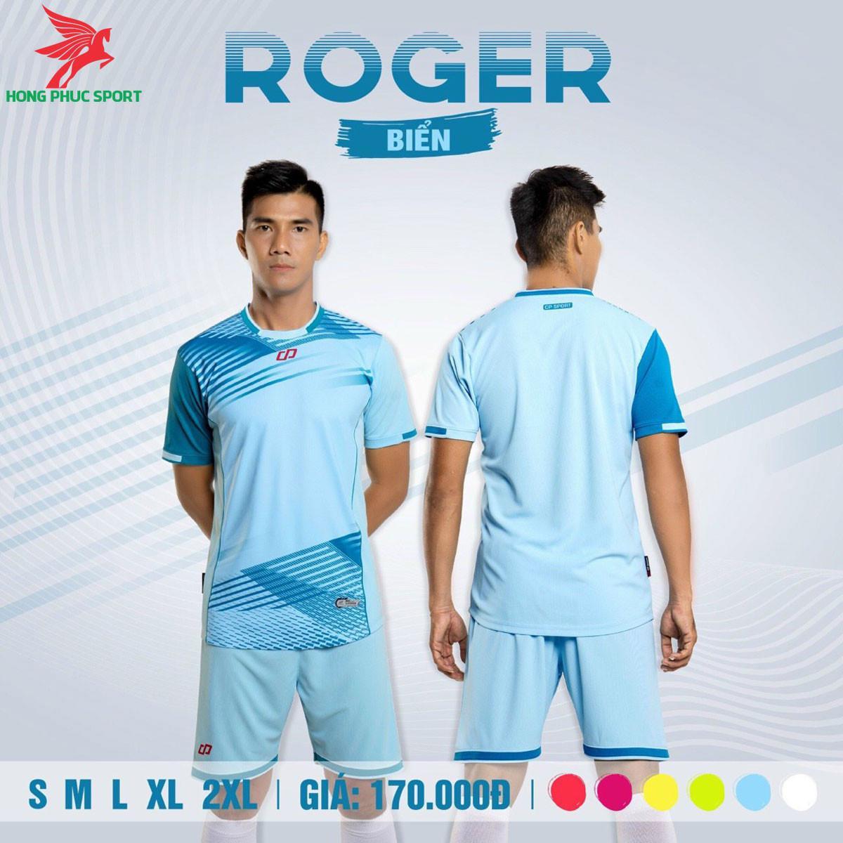 Áo đá banh không logo CP ROGER 2021 màu Xanh biển