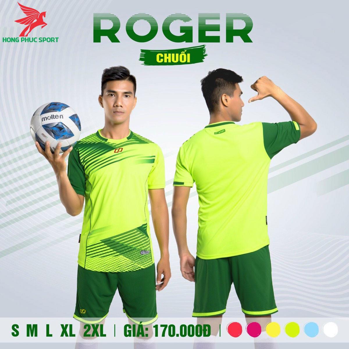 Áo đá banh không logo CP ROGER 2021 màu Xanh chuối