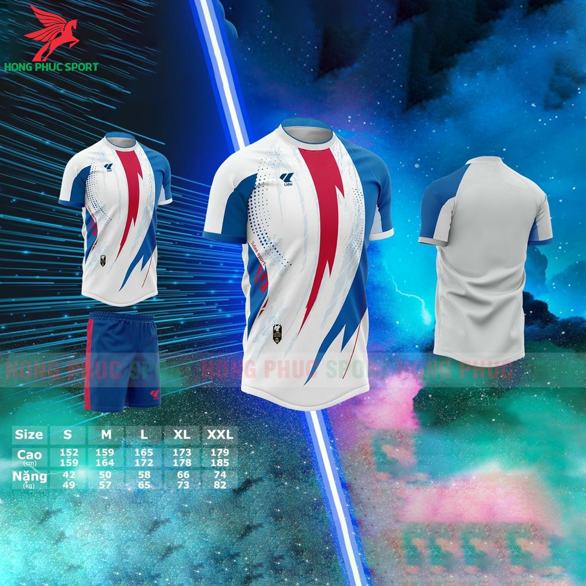 Áo bóng đá không logo Lidas Passionmàu xanh phối đỏ