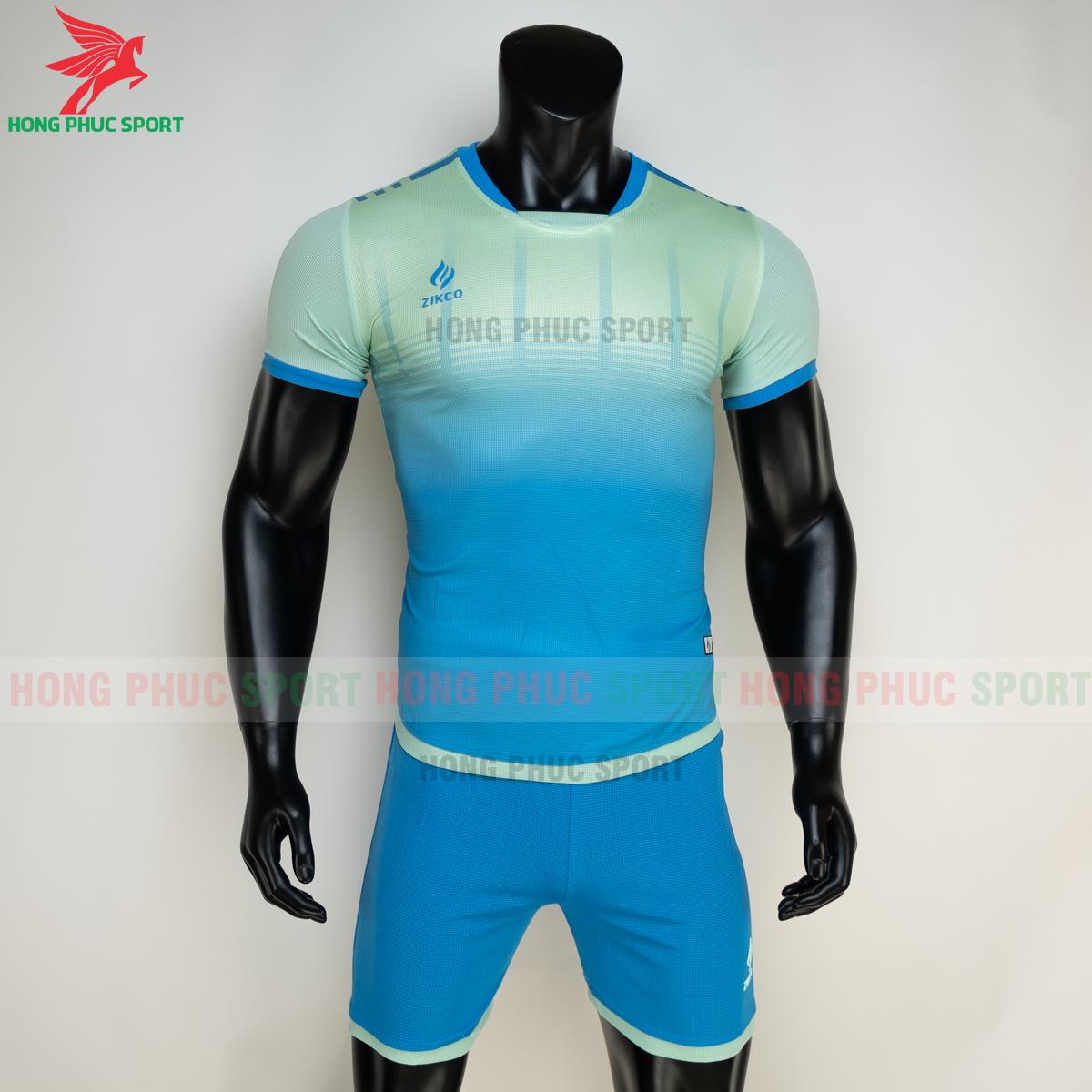 Áo đá banh không logo ZIKCO Z01 2021 màu Xanh ngọc (trước)