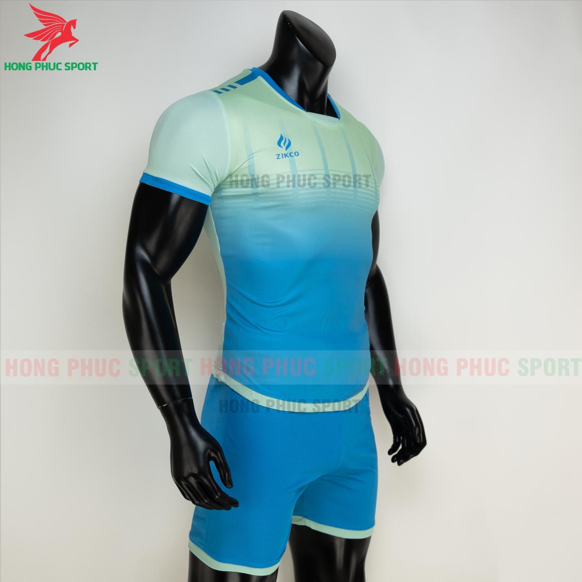 Áo đá banh không logo ZIKCO Z01 2021 màu Xanh ngọc (phải)