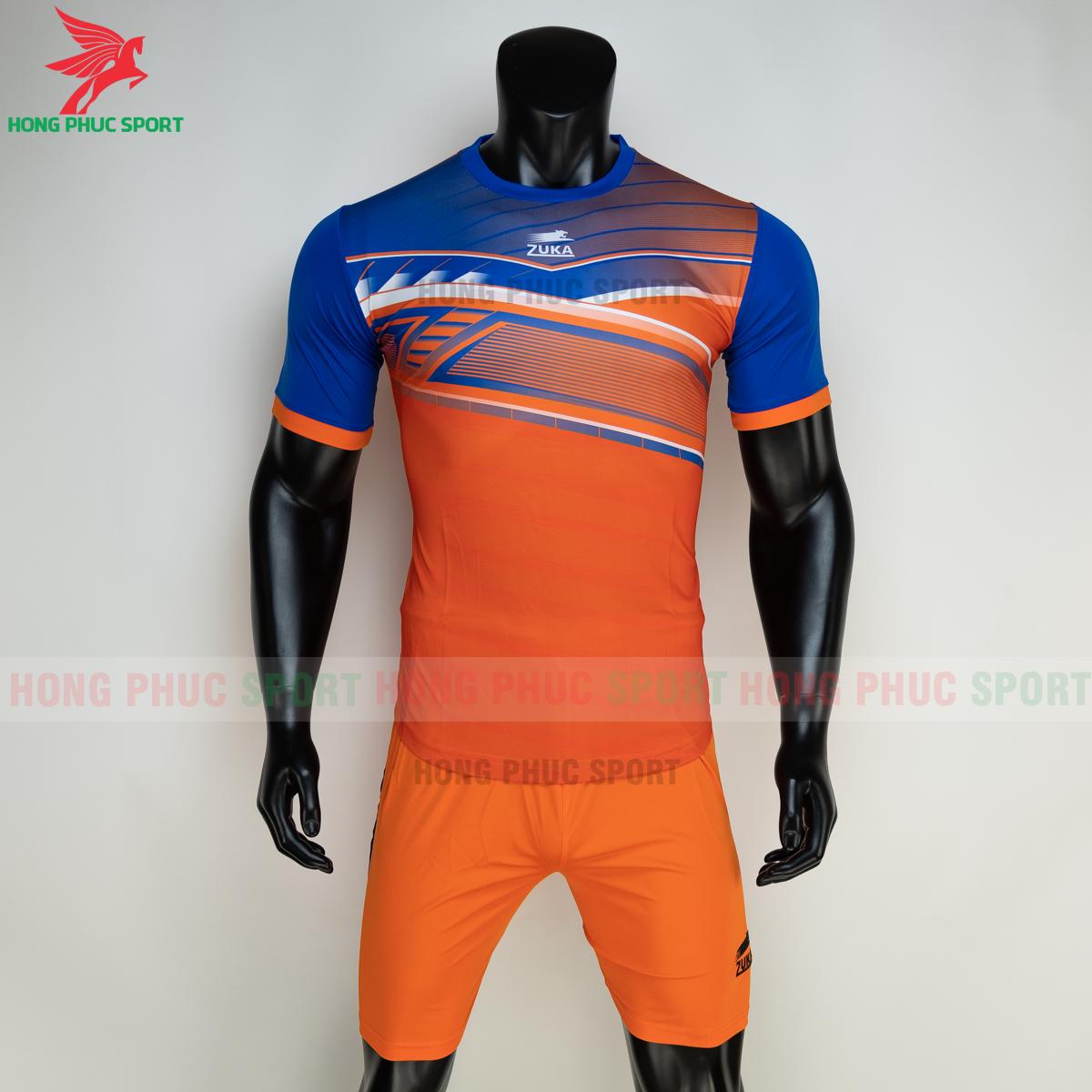 Áo đá banh không logo ZUKA 01 2021 màu Cam (trước)