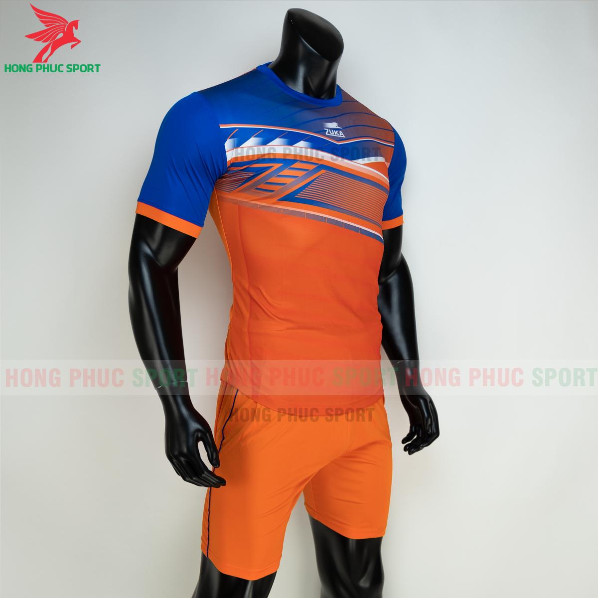 Áo đá banh không logo ZUKA 01 2021 màu Cam (trái)