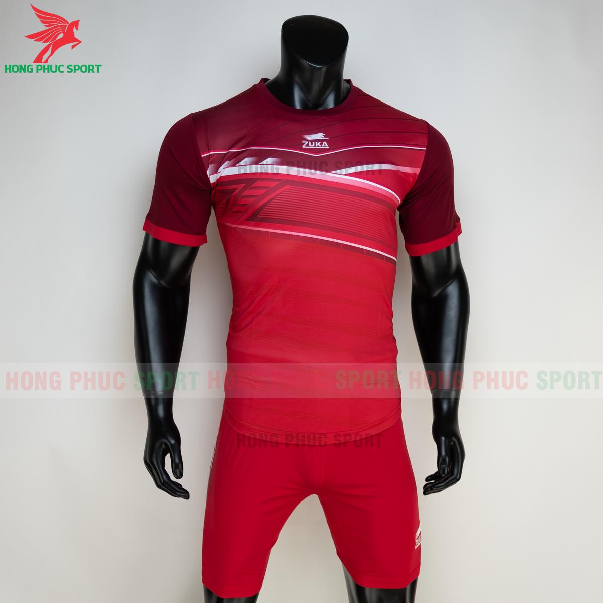 Áo đá banh không logo ZUKA 01 2021 màu Đỏ (trước)