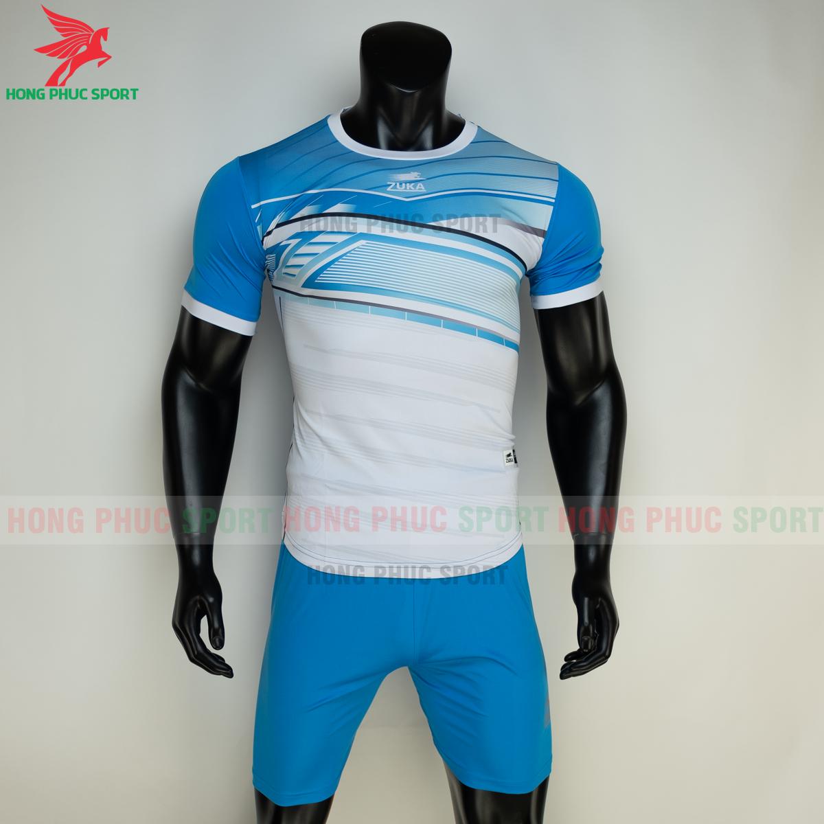 Áo đá banh không logo ZUKA 01 2021 màu Xanh (trước)