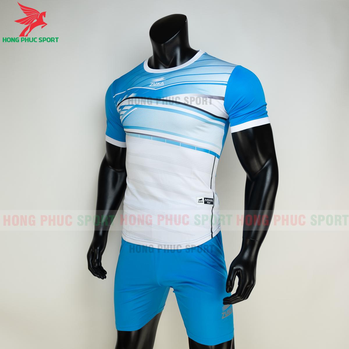 Áo đá banh không logo ZUKA 01 2021 màu Xanh (trái)