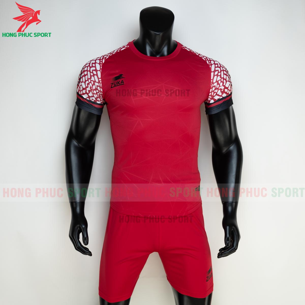 Áo đá banh không logo ZUKA 022021 màu Đỏ (trước)