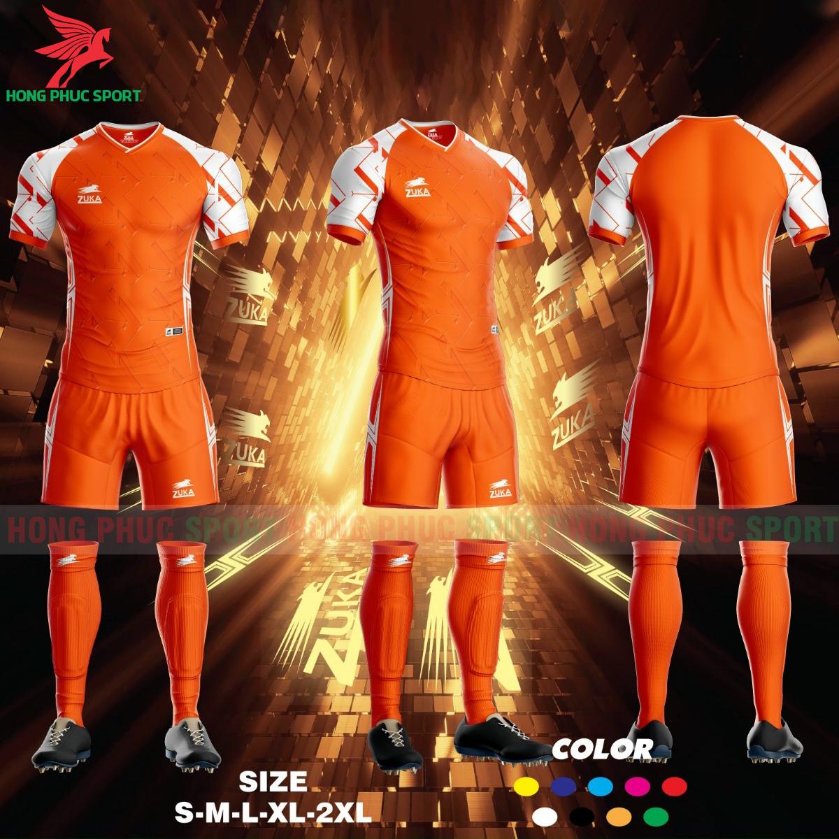 Áo đá banh không logo ZUKA SPF012021 màu Cam
