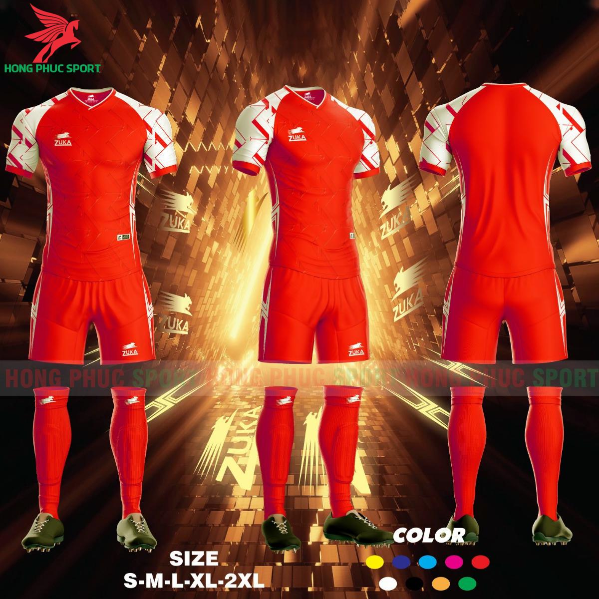 Áo đá banh không logo ZUKA SPF012021 màu đỏ