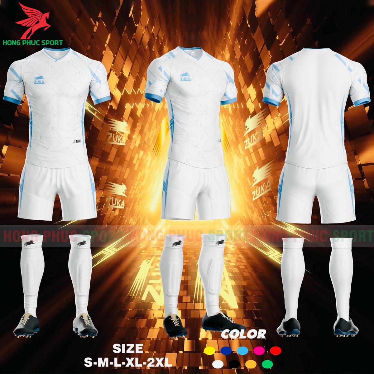 Áo đá banh không logo ZUKA SPF012021 màu trắng