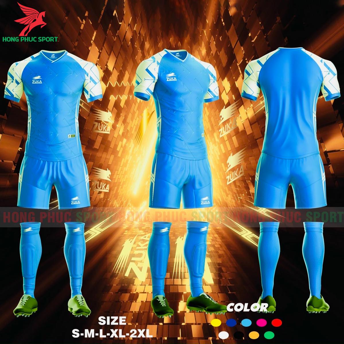 Áo đá banh không logo ZUKA SPF012021 màu xanh da